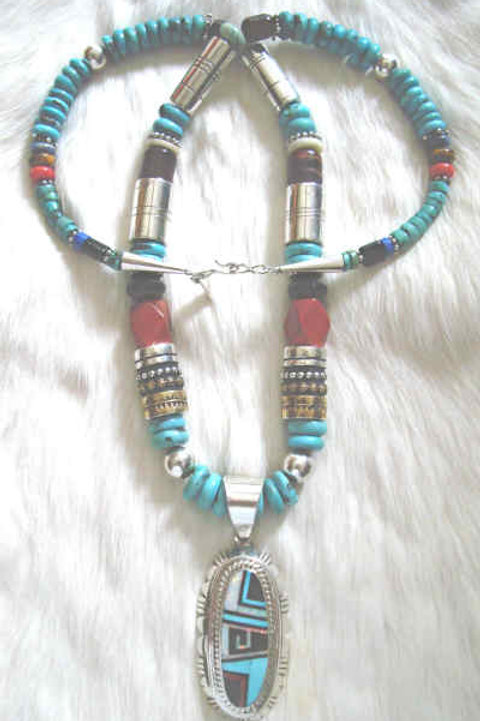 Tommy Singer Large Beaded Necklace With RCC Pendant