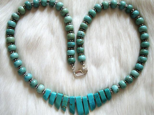 Turquoise & Sterling Silver Fan Necklace