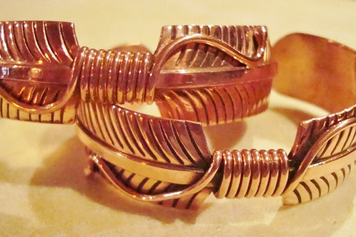 Solid Copper Feather Cuffs