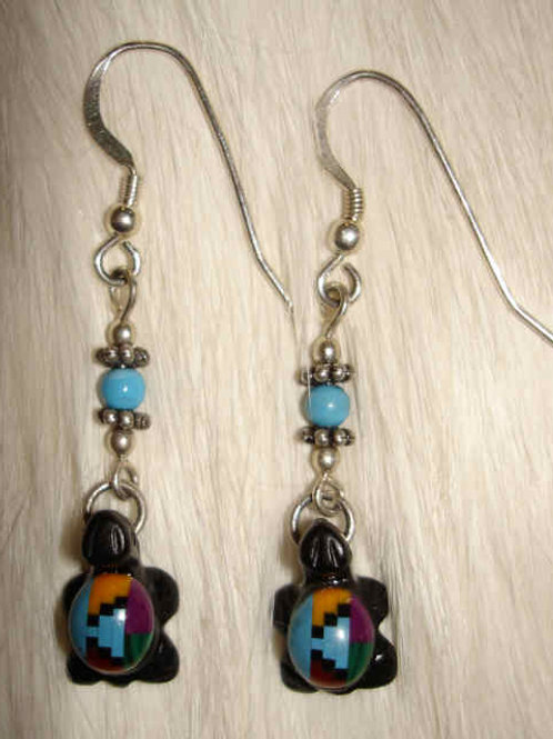 Multi Stone Turtle Drop Earrings