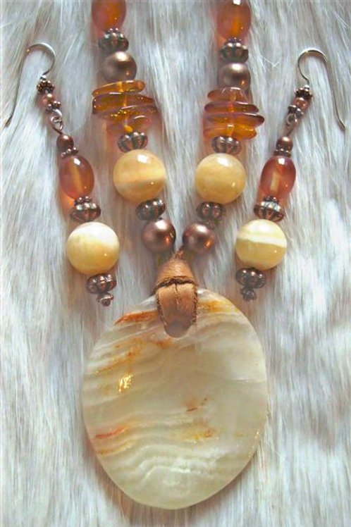 Copper, Quartz, Calcite,Carnelian & Amber Necklace & Earrings