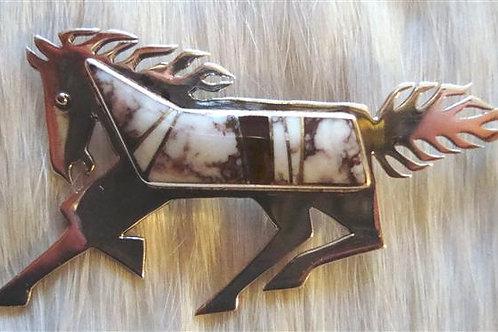 Wild Horse Turquoise & Tiger Eye Horse Pin