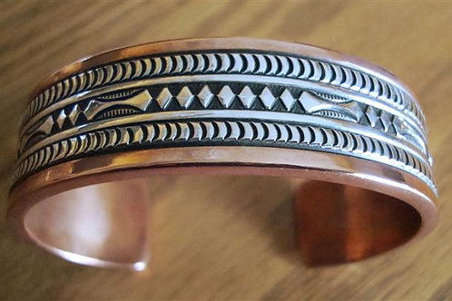 Very Chunky, Thick Copper & Sterling Silver Cuff