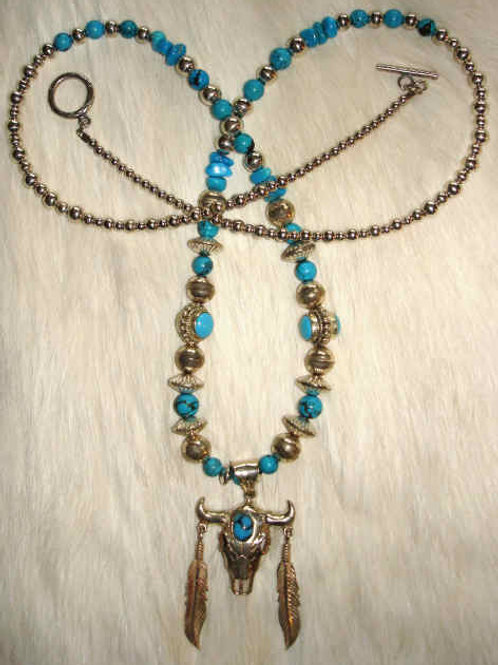 Turquoise & Sterling Cow Skull Necklace