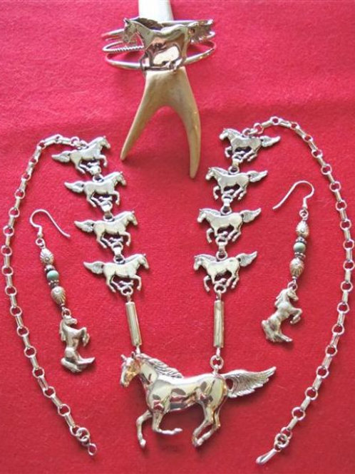 For The Horse Lover Sterling Silver Necklace, Bracelet & Earrings