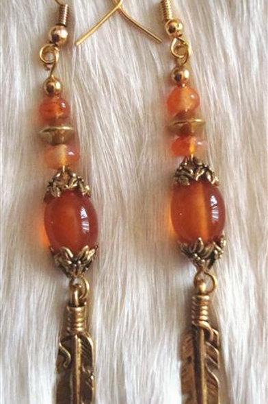 Carnelian & Brass Earrings