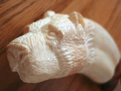 Carved Bear Into Warthog Tusk Herder Carving Knife
