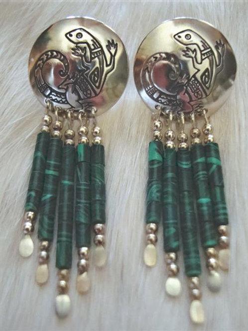 Sterling & Malichite Lizard Earrings