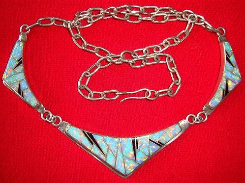 Beautiful Man Made Fire Opal & Onyx Necklace