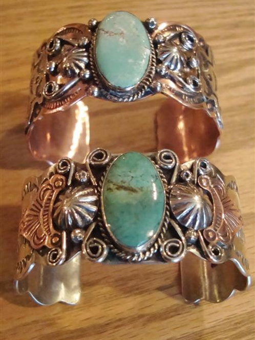 Great Nickle Silver, Copper & Turquoise Cuff