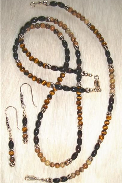 Onyx, Picture Jasper, Tiger Eye & Sterling Bali Bead Necklace, Bracelet & Earrin