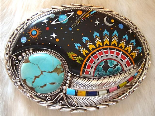 WOW!! Sterling Silver Inlay Belt Buckle