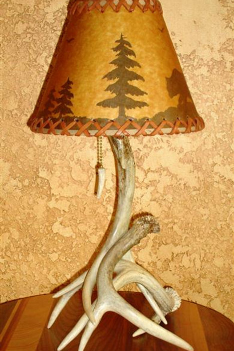 Small Three Antler Hard White Lamp