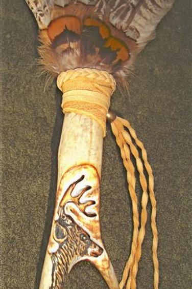 Pheasant Wing Feather & Antler Fan