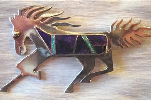 Sugilite & Man Made Opal Horse Pin