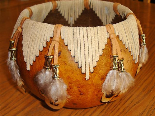 Suede Stitched Gourd With Feather Drop
