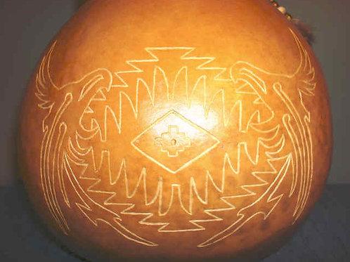 Monkey Pod Carved Eagle Gourd