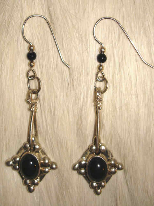 Black Onyx & Sterling Earrings