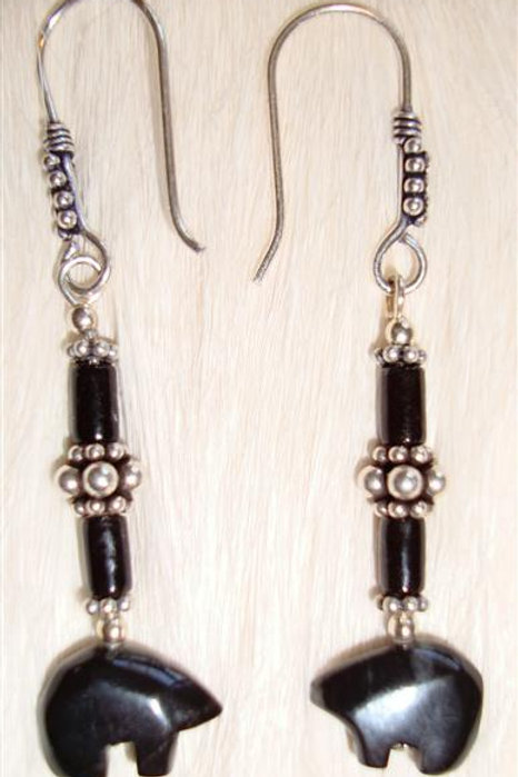 Sterling With Onyx Beads & Bears Earrings