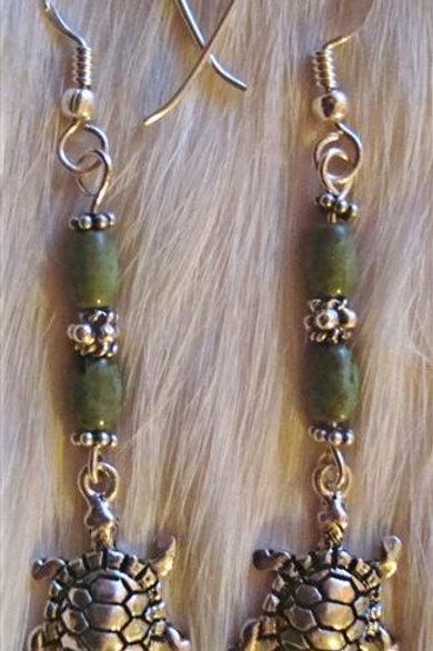 Sterling Turtles & Green Turquoise Earrings