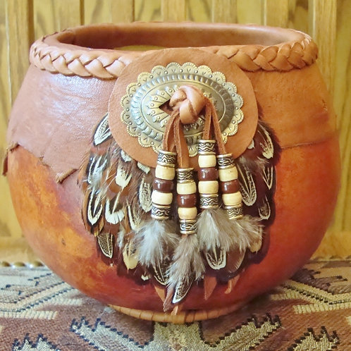 Feather And Concho Gourd