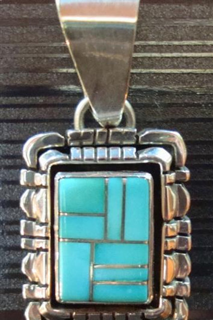 Wonderful Sleeping Beauty Inlay Turquoise Pendant