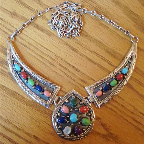 Multi Stone & Sterling Silver Necklace