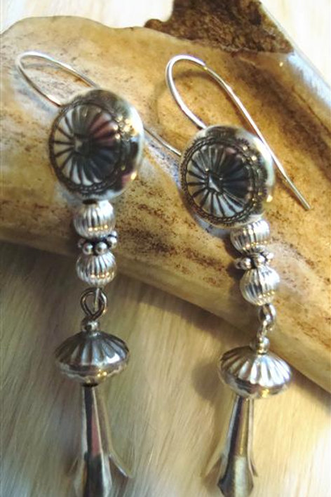 All Sterling Silver Squash Blossom Earrings