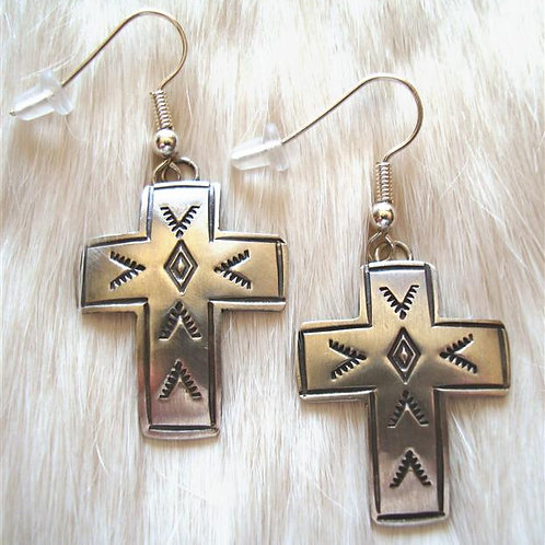 Navajo Made Sterling Cross Earrings