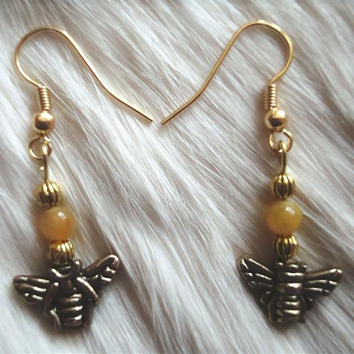 Brass & Red Amber Bumble Bee Earrings