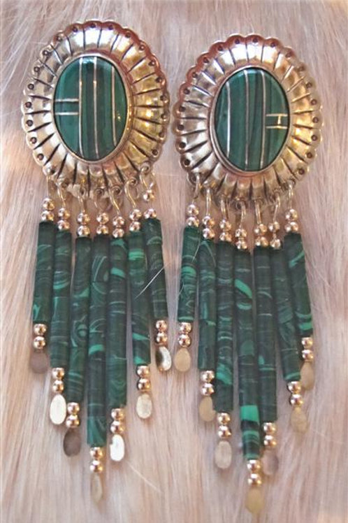 Malichite & Sterling Inlay & Heshi Earrings