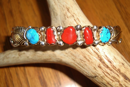 Petite But Full Of Bling Turquoise, Coral, Sterling & Gold Fill Cuff