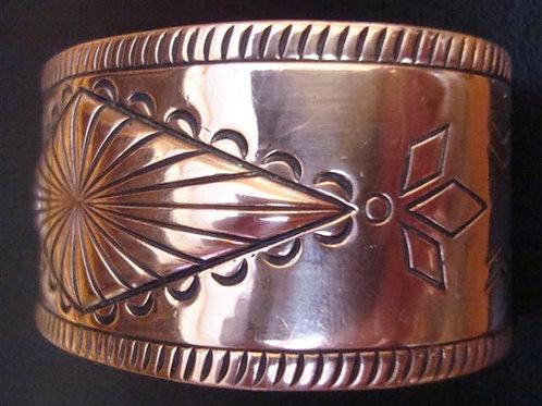 Vintage Solid Copper Southwest Design Wide Cuff