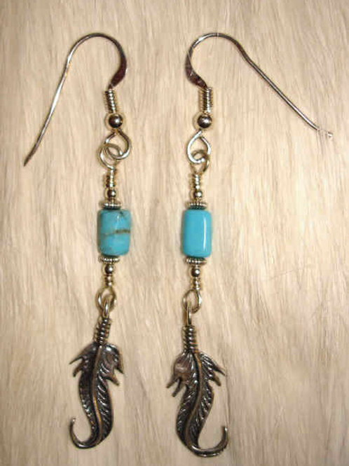 Sterling Feather & Turquoise Earrings