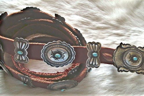 Super Nice Antiqued Sterling Silver & Turquoise Concho Belt