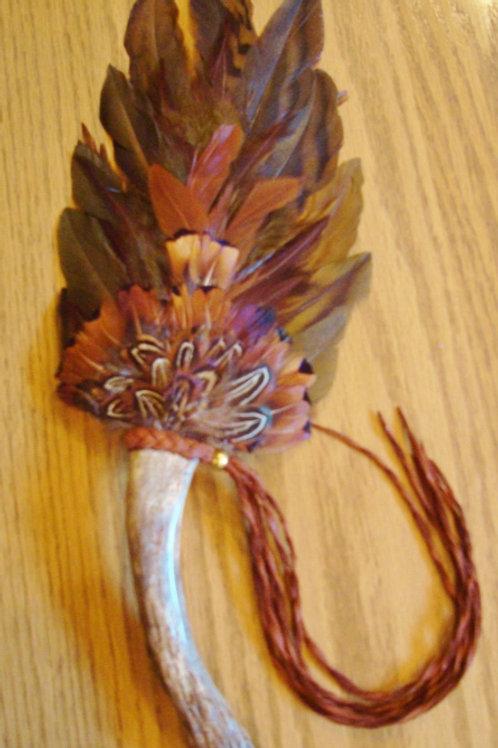 Indian Head Buffalo Nickel Feather & Antler Fan