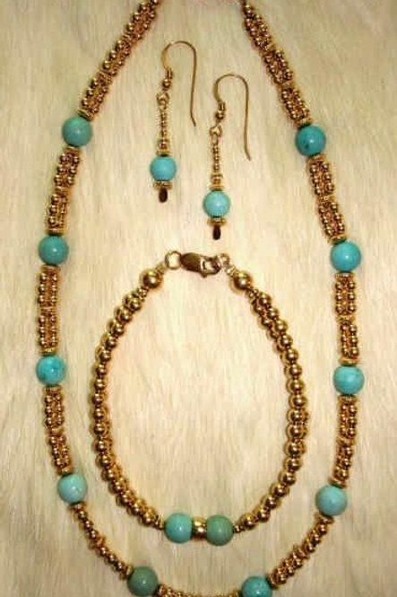 Turquoise & Gold Fill Necklace, Bracelet & Earrings
