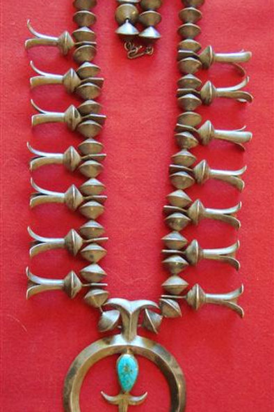 Very Old Dead Pawn Sterling Silver & Turquoise Squash Blossom Naja Necklace