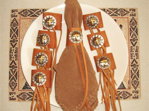 Cross Concho & Leather Napkin Rings