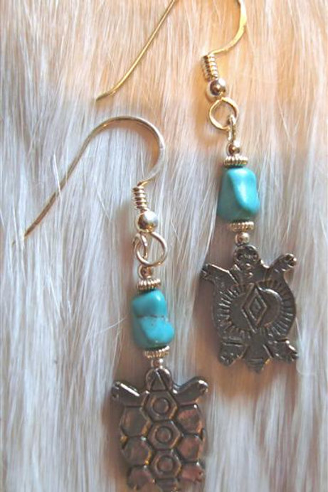 Turtles & Turquoise Earrings