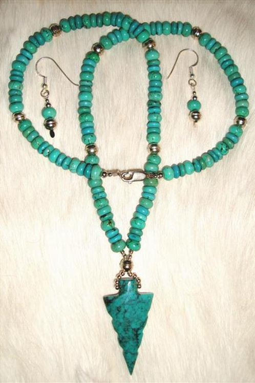 Greenish Blue Turquoise Arrow Necklace & Earrings