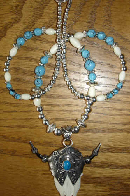 Very Cool Horn, Bone, Sterling And Turquoise Necklace