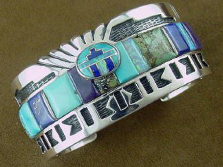 Sleeping Beauty Turquoise, Lapis Sugilite & Created Opal Inlay Bracelet