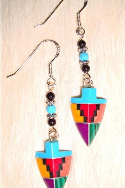 Multi Stone Inlay Arrow Earrings