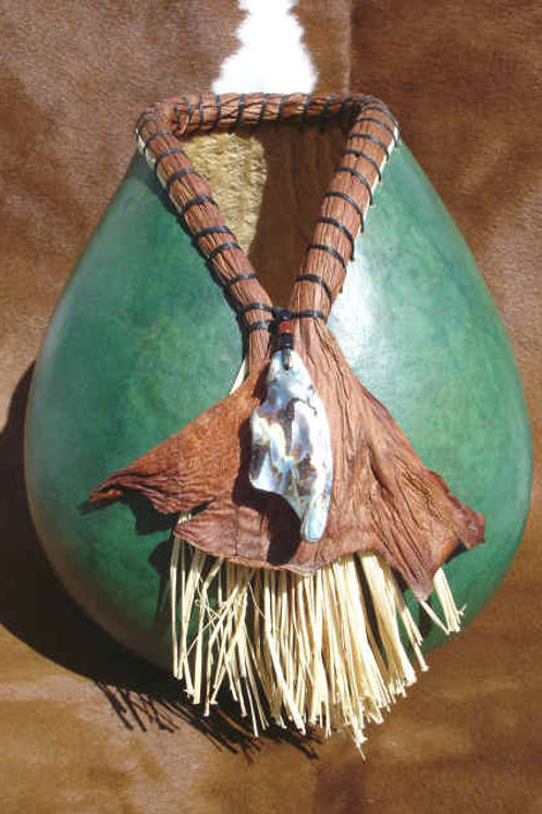 Abalone, Philodendron Sheaths and Raffia Gourd