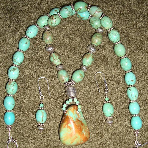 Turquoise & Sterling Silver Drop Necklace & Earrings