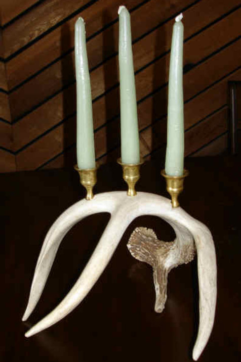 Three Candle Holder of Brass & Antler