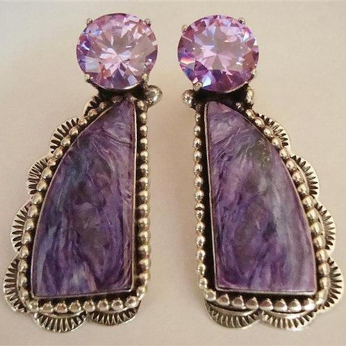 Beautiful Amethyst & Charoite Stud Earrings