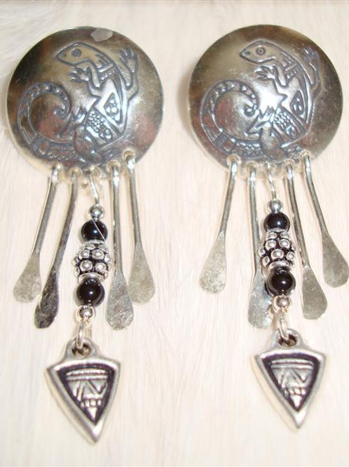 Sterling & Onyx Lizard Earrings