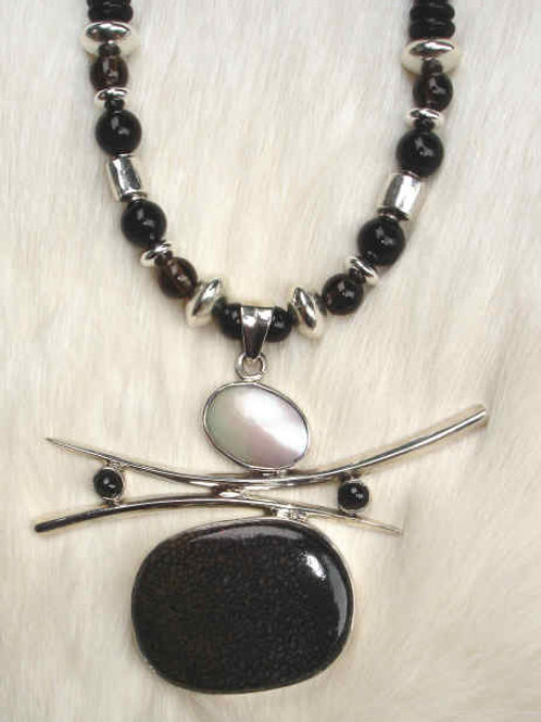 Black Coral, Pearl, Onyx, Smokey Topaz & Sterling Necklace